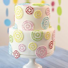 The rainbow goes round and round on this lively fondant cake. Large and small circle cut-outs are decorated with colorful dots that bring excitement to any celebration. Learn how to make fondant cutouts in The Wilton Method of Cake Decorating Course 3.
