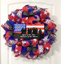 4th of July Wreath, July 4th Wreath, Land of the Free Because of the Brave, Patriotic Wreath, July 4th Decor, Patriotic Decor, 4th of July by CharmingBarnBoutique on Etsy