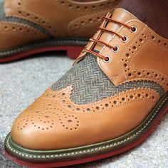 Wingtips - houndstooth and brown leather. Love it.