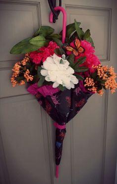 Umbrella Wreath Door Hanger Decor April Showers Cat Black Pink Orange