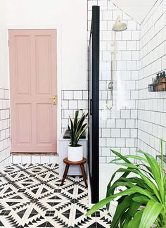 Home Sweet Home negi.home painted the door in her bathroom in Frenchic's 'Dusky Blush'❤️ Your Gui Downstairs Bathroom, Small Bathroom, Bathroom Ideas, Bathroom Goals, Fancy Bathrooms, Small Shower Room, Shower Rooms, Bathroom Showers, Bathroom Designs