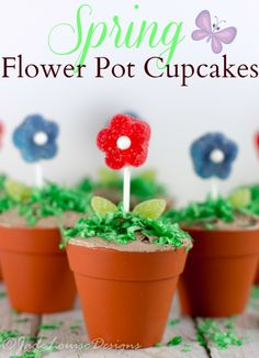Flower Pot Cupcakes for Spring Simple Creative baking via Cupcake Recipes, Cupcake Cakes, Cupcake Ideas, Cup Cakes, Dessert Recipes, Cupcake Tutorial, Yummy Cupcakes, Strawberry Cupcakes, Spring Activities