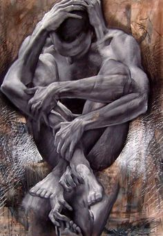 A fine art painting by Jakub Kujawa that shows a man curled into a fetal position with his arms in different positions Corel Painter, Figurative Kunst, Ap Studio Art, Photo D Art, Art Africain, A Level Art, Ap Art, Surreal Art, Conceptual Art