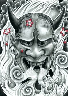 All About Art Tattoo Studio Rangiora. Quality work by Professional Artist. Oni Tattoo, Hanya Tattoo, Samurai Tattoo, Japanese Demon Tattoo, Tattoo Oriental, Oni Mask, Dibujos Tattoo, Japanese Mask, Japanese Tattoo Designs
