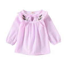 The perfect blouse for your little one. A blend of cotton and polyester. Breathable, soft, comfortable, and skin-friendly for babies. Baby Size, Spring Collection, Pink Blue, Cute Outfits, Ruffle Blouse, Future, Long Sleeve, Girls, Sleeves