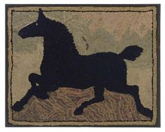A COTTON AND WOOL HORSE HOOKED RUG, late 19th or early 20th, Christie's