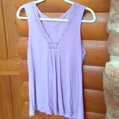 Purple crocheted top Calvin Klein purple flowy tank. Cute, cute, cute! No stains, however there is a tiny hole on the back top collared area (please see pic). Calvin Klein Tops Tank Tops