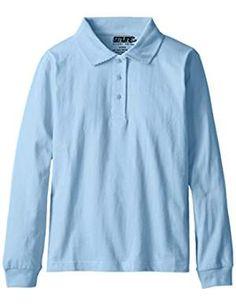 Genuine Big Girls' Polo Shirt (More Styles Available), Jersey Light Blue-BJJH, Long sleeve jersey polo with picot collar Polo Shirt Girl, Uniform Shirts, School Uniform, Polo Tees, Slogan Tee, Long Sleeve Polo, Party Shirts, Striped Tee, Sweatshirts