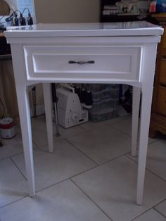 After, sewing table purchased at a thrift store