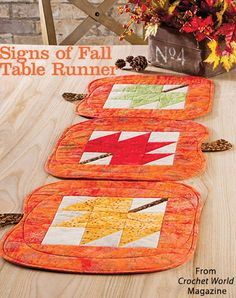 Signs of Fall Table Runner from the Autumn 2016 issue of Quilter's World Magazine. Order a digital copy here: https://www.anniescatalog.com/detail.html?prod_id=132522