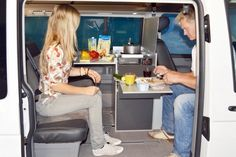 """VanEssa Mobilcamping Interior Module """"Oslo""""  Full Interior Kitchen unit ideal for cold climate touring. Placed behind the Driver's Seat and ideal in combination with a passenger swivel seat."""