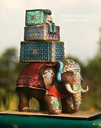 Beautifully detailed Indian style Elephant wedding cake.
