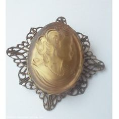Vintage Glass Cameo Woman with Pearls  Pin Brooch