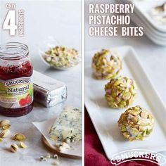 Robust blue cheese and red raspberries mingle just right in this super-simple one-bite appetizer. First, beat softened cream cheese with an electric mixer until fluffy. Then, add blue cheese and Smucker's® Natural Red Raspberry Fruit Spread (or Red Raspberry Jam). Once ingredients are mixed, shape into balls, and roll in pistachios for the perfect nutty finish.