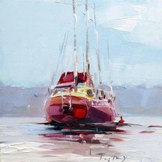 """Daily Paintworks - """"Rote Yacht"""" - Original Fine Art for Sale - © Jurij Frey"""