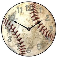 "This fun ""grungy"" baseball clock is my most popular baseball clock. I love the old look of the used baseball. Check out my other designs as well. Baseball Wall, Baseball Crafts, Baseball Mom, Baseball Stuff, Baseball Nursery, Baseball Bathroom, Softball Bedroom, Baseball Decorations, Baseball Scores"