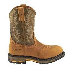 Ariat Men's Workhog Pull-on Composite Toe Boot (Brown/Medium Green, 13' D)