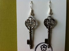 SKELETON KEY EARRINGS: FRENCH STYLE KEYS WITH SILVER PLATED HOOKS- BRAND NEW