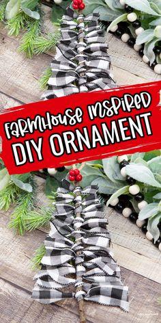 DIY Ribbon Farmhouse Christmas Ornaments