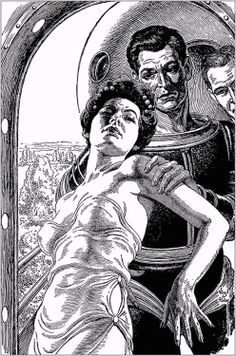 Virgil Finlay. The World Burners by Paul W. Fairman, Amazing Stories 59-02, P.9. The woman reminds me of actress Alexa Davalos who wasn't even born when Finlay drew this. Caption: She would rather die than leave her beautiful world.