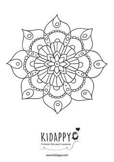 Mandala fleur – Kidappy Mandala Design, Mandala Dots, Mandala Pattern, Mandala Coloring Pages, Colouring Pages, Coloring Books, What Is A Mandala, Simple Mandala, Quilling Patterns