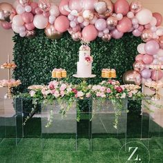 Ideas For Birthday Party Ideas Pink Backdrops Deco Baby Shower, Shower Party, Baby Shower Parties, Baby Shower Themes, Bridal Shower, Shower Cake, Balloon Arch, Balloon Garland, Balloon Decorations