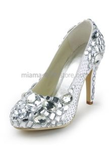 Round toe Satin Rhinestones Rubber sole Wedding shoes