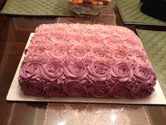 pink/purple ombre rossette cake :D