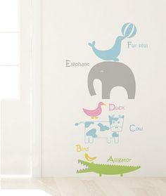 Cute Animals Alphabet Nursery DIY Modern Wall Art Vinyl Decals Stickers for home kids room decor fun unique ig-4