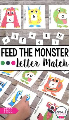 Free Feed the Monster Alphabet Match. Practice matching upper and lowercase letters along with different fonts. #sarajcreations #alphabet #free #preschool #kindergarten