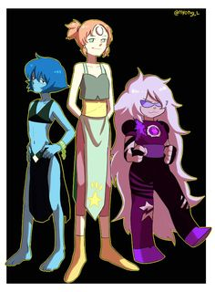 Steven universe. Lapis pearl and amethyst in fusion outfits. Omg they all look so cute X3