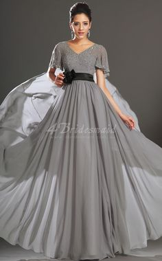 A-line With Sleeves V-neck Long Silver Chiffon Evening Dresses(BD538)
