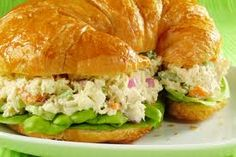 Chicken Salad  Canned Chicken, Macaroni Noodles, Grapes, Green Onion, Crushed Pineapple, Fat Free Mayo, & Cashews    Cook Macaroni and let cool.  Mix in with the other ingredients and serve on cressant rolls.