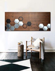 MODERN WOOD ART Wood Wall Art Metal Wall Art Wood Art Wall Art Metal Art Modern Artwork Modern Art Modern Painting - 48x20 Mod Honeycomb