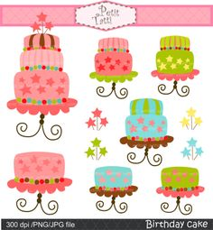 Digital clip art for all use, birthday cake clip art, cake. $3.90, via Etsy.