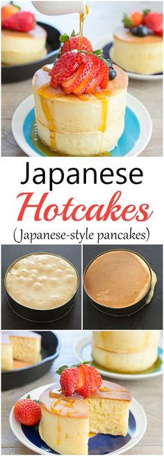 Hotcakes Japanese-style pancakes are taller and fluffier than regular pancakes. They make a fun weekend breakfast treat!Japanese-style pancakes are taller and fluffier than regular pancakes. They make a fun weekend breakfast treat! Japanese Diet, Japanese Pancake, Japanese Recipes, Vietnamese Recipes, Chinese Recipes, Mexican Recipes, Japanese Style Breakfast, Japanese Cheesecake Recipes, Japanese Drinks