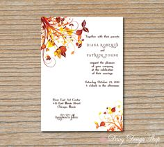 Wedding Invitation - Autumn Leaves in Burgundy Orange and Yellow - Invitation and RSVP Card with Envelopes. $2.25, via Etsy.