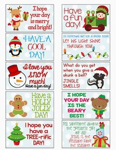 Christmas Lunchbox Note Idea for Kids Printable Craft