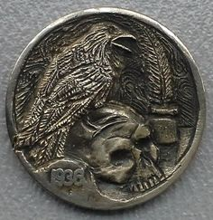 Hobo Nickel by Robert Morris, Raven and Skull