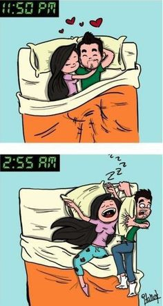 This is me and my husband BUT it's always him pushing me off the bed. LOL