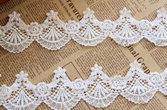 Off White Cotton Shell Embroidery Lace Hollowed out by Lacebeauty, $5.99
