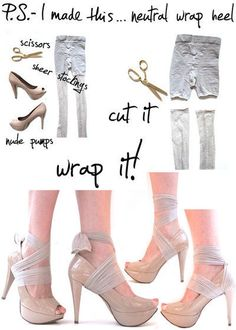 Pantyhose Wrap Heels • Free tutorial with pictures on how to make a pair of fabric covered shoes in under 10 minutes