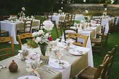rustic tables at Romantic Old Farmhouse Wedding on Crete