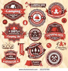 Vintage camping labels set by Donnay Style, via ShutterStock