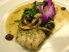 Sauteed Haddock - Topped with NY Dried Cherries, Shitake Mushrooms, Finished in a Chablis Sauce - see more featured Fresh Catch menu items at Reel Seafood Co. - www.reelseafoodco.com/menu/fresh-catch