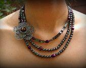 Plum Necklace-Wedding Necklace-Purple Necklace-Hematite-Metal Flower Brooch-Wedding Jewelry-Dream Day Designs