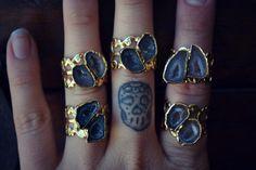 LUX DIVINE /// Adjustable Geode Statement Ring /// Stackable Gemstone Gold Electroformed Ring