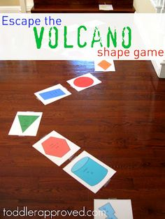 Escape the Volcano Shape Game- a fun way for toddlers to learn their shapes