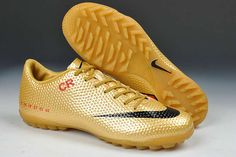 Nike Mercurial Vapor IX CR7 SE Limited Edition TF Boots - Gold Red Black New Soccer Shoes 2013