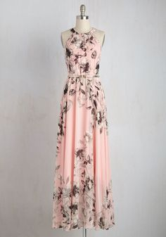 Fete of Florists Dress - Woven, Long, Pink, Floral, Belted, Maxi, Sleeveless, Better, Pastel, Grey, Prom, Special Occasion, Wedding, Bridesmaid, Print, Valentine's